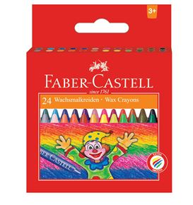 Faber-Castell - Wax crayon round, cardboard wallet of 24