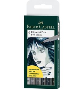 Faber-Castell - Pitt Artist Pen Soft Brush India ink pen, wallet of 6